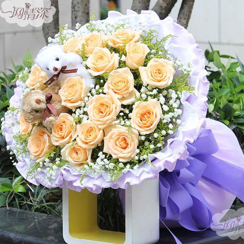 19朵香槟玫瑰,搭配满天星和黄莺,2个小熊